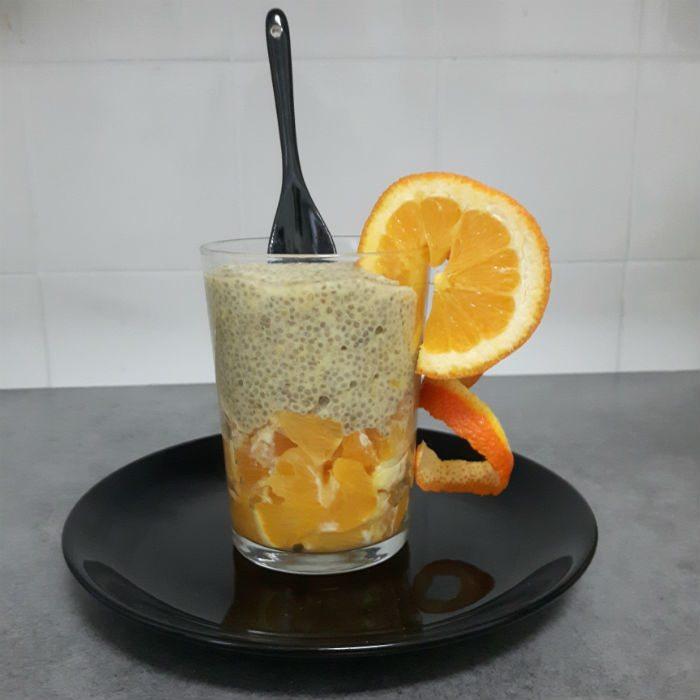 chia con zumo de naranja