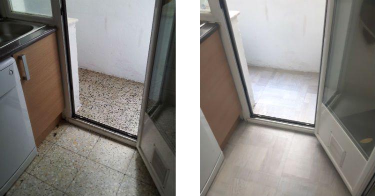 """Renovación del la cocina con losetas vinílicas. Podéis encontrar el paso a paso en el post """"Renovar el suelo de la cocina con losetas de vinilo"""""""