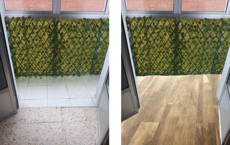 terraza con suelo viejo y suelo nuevo madera